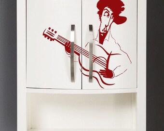 Guitarist Wall Decal, Cartoon Guitarist Wall Vinyl Art, Removable Guitarist Music Wall Decal Sticker, Spanish Guitarist Wall Decal Art, a83