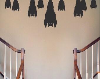 Sleeping Bats Halloween Wall Decal, Bats Wall Decor, Halloween Wall Decor, Bats Wall Decal Stickers, Halloween Bats Wall Art Stickers, h20