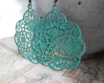 Turquoise  Earrings Patina Flower Filigree Earrings Dangle Boho Earrings Bohemian Gypsy Earrings Jewelry