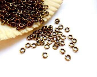 100 Antique Bronze Jump Rings 3mm, Open Loop - 11-ABOL-3