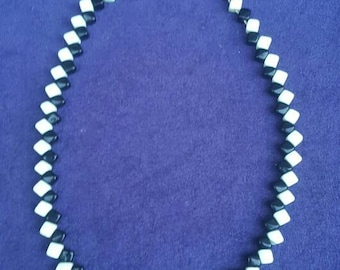 Unusual black and white cubic glass bead necklace c 1930's