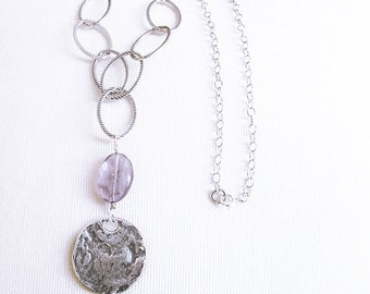 Anniversary gift for wife, silver coin necklace, coin charm jewelry, stone statement jewelry, purple stone necklace, rustic coin necklaces