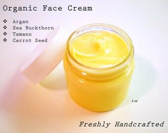 Natural Face Cream - Argan - Sea Buckthorn - Carrot Seed / Day & Night Cream / Eye Cream / Wrinkle Cream -  Organic Moisturizer - 2 oz