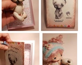 Mimi the dog'in a vintage 3D handcrafted box, collectible BJD' OOAK, by Chrishanthi ''Ppinkydolls''