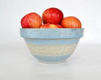 Antique Red Wing Greek Key Bowl ~ #8 Size ~Stoneware ~ Blue & White Bowl