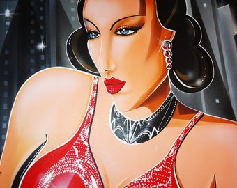 Art Deco Painting HUGE dramatic Red Dress female Deco Jewelry SIGNED John Davis Canvas Cubism lgbt