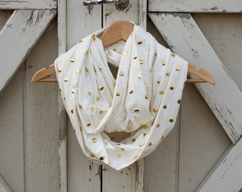 Ready to Ship Cream Scarf With Gold Polka Dots White Scarf With Silver Polka Dots Cream Scarf Cream Infinity Scarf Girls Infinity Scarf