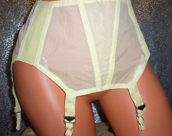 Vintage 50' lace perlon nylon hook side girdle garter belt Triumph