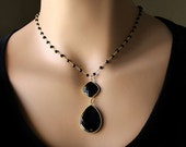 VALENTINE Sale Black Onyx Pendant Necklace, Jet Black Gemstone, Rosary Style, Gold Vermeil, Black Onyx Jewelry, Black Spinel