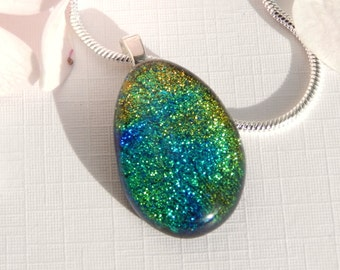 Green Dichroic Glass Pendant - Fused Glass Jewelry - Mixed Green Glass Necklace