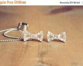Valentines Sale Dainty Rhinestone Bow Ear Cuff, Earring Cuff, Ear Cuff with Chain, Bow Ear Cuff, Rhinestone Ear Cuff