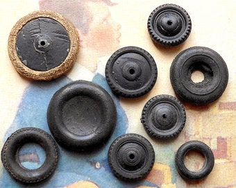 Toy wheels & tyres, 9 - all different, vintage.  5 wheels - various types and 4 rubber tyres, c early 20th. cent. c1950's.