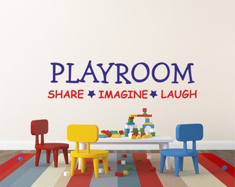 Kids Wall Decal Playroom Share Imagine Laugh, Wall Sticker, Wall Home  Decor, Nursery