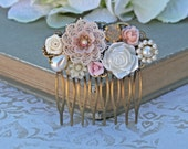 RESERVED FOR SARAH Garden Wedding Hair Comb,  Wedding Comb, Collage Bridal Comb, Bridal Hair Comb, Bridesmaid Comb