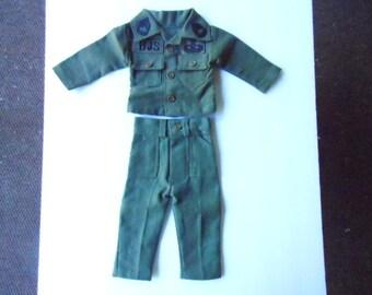 Vintage Miniature US Army Airborne Green Fatigues Replica Doll Size Uniform Korean War Era Collectible Attic Military Trunk Keepsake