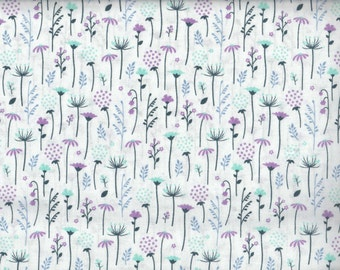 White Flowers Ethereal cotton fabric - blue periwinkle aqua orchid - Camelot Cottons - by the continuous YARD