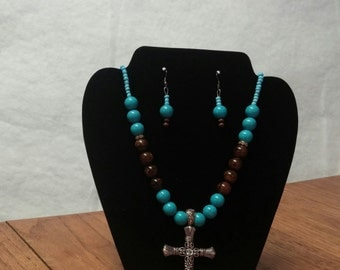 Turquoise and Brown Necklace with Cross,Turquoise,Necklace Set,Cross Pendant