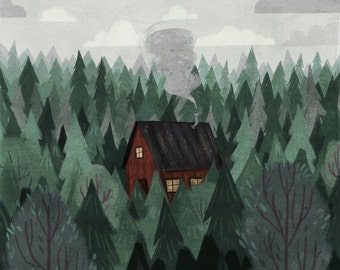 """Cottage in the Woods 8x10"""" print"""