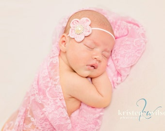 Light Pink Stretch Lace Wrap for Newborn Photo Shoot, Photo Prop, Newborn Wrap, Infant Wrap, Newborn Photography, Infant Photo Shoot