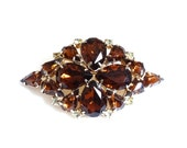 RESERVED Vintage Amber Rhinestone Pin Brooch Tiered Juliana Style Gold Metal Large Big Size Closed Back