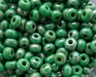 Green Picasso Czech 6/0 Seed Beads, 2995, 6/0 Green Picasso Seed Bead, 15 grams