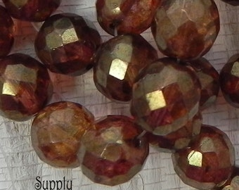12mm Toasted Brown Czech Glass Beads - Brown Faceted Round - 1889 - 6 or 15 Beads