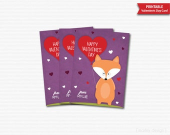 Fox Valentines Cards Printable Fox Valentines Day Cards Classroom Cards Kids Valentines Cards Digital Valentines Fox Cards Favors Gift Tags