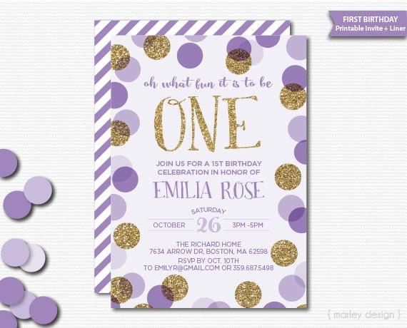 First Birthday Invitation Printable Lavender Gold Glitter – Polka Dot First Birthday Invitations