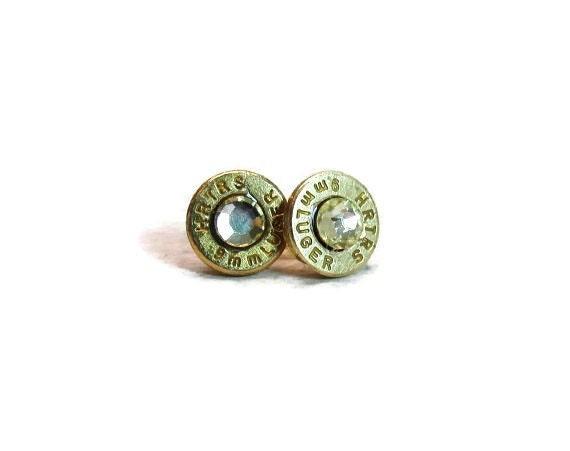 9mm luger ammo earrings bullet casing jewelry post earrings