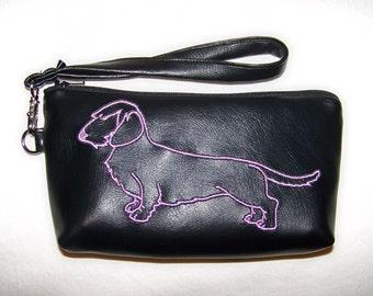 Elegant Black Clutch/Wristlet with Purple Wire Hair Embroidered Dachshund