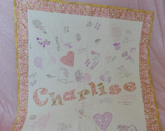 Signature Quilt, Baby's 1st Birthday, Autograph Quilt, Guestbook Quilt
