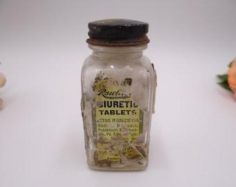 1940s Vintage Rawleigh's Diuretic Tablet Glass Bottle - Medicine Bottle