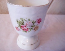 Vintage large egg cup, pink yellow roses egg cup, duck egg cup, vintage Easter decor, shabby cottage chic decor, romantic