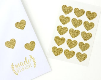 """Envelope Seals - 3/4"""" Heart Stickers - Gold - Glitter Label - Party Favors - Gift - Gift Wrapping - Birthdays - Wedding - Seals"""