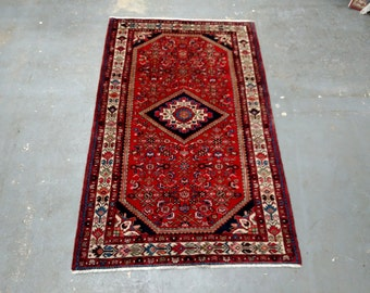 1960s Vintage Hand-Knotted Hamadan Persian Rug (3383)