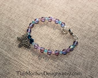 Exotic Summer Butterflies bracelet / bead / beaded bracelets / handmade / gifts for women / swarovski jewelry / silver / female artist