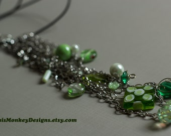 Spring is Here drop necklace / jewelry / leather / silver / beaded / chain / handmade / spring / gifts for women / swarovski / mint necklace