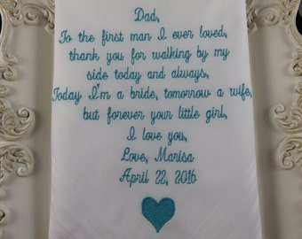 Father-in-law, 40 word choice Wedding Handkerchief. Makes a great Wedding Gift for your new Father-in-law/Free gift envelope with each hanky