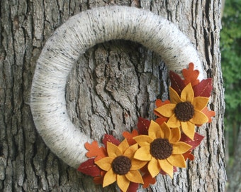 "Fall Yarn and Felt Wreath with Felt Sunflower - 14"" Fall Wreath - Autumn Wreath with Felt Leaves - Ready to Ship"