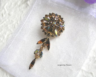 Vintage Sherman Swarovski clip earring pendant, 40's, 50s or 60's, gorgeous