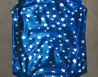 Gymnastics Leotards | Dance Costumes - U.S.A. - Blue Metallic lycra with Silver Stars - Toddlers and girl's sizes 18 months - Girl's size 12
