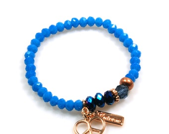 Bracelet rose gold with bright blue with peace heart charm to mix and match - Ibiza style charm bracelets glass faceted beads - woman gift