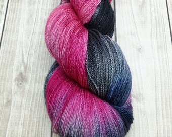"Hand dyed ""Misfit"" Lace weight superwash merino yarn"