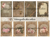 Digital Paper, Digital Shabby Vintage Scrapbook Paper, Cards Tags Shabby Vintage Background Papers. No. 418