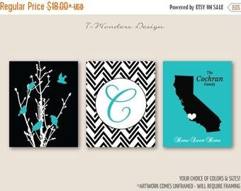 ON SALE Personalized Family Tree Birds State Artwork Set of 3 Prints // Turquoise, Black // 5x7, 8x10, 11x14, 16x20 // Family Art Prints, Un