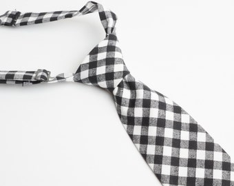 Black Gingham Neck Tie With Adjustable Strap