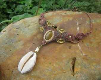 Tiger eye brown macrame sea shell tribal necklace