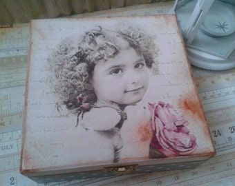 Vintage Little Girl Decoupage Jewellery Box