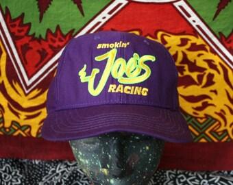 Vintage Camel Cigarettes Purple Baseball Cap. Smokin Joe Camel Racing Retro Hat. Retro 90s Purple Snapback RJ Reynolds Tobacco Baseball Cap.