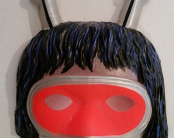 Vintage Halloween Mask Martian Plastic Mask NOS Halloween Costume Masks Half Mask Outer Space Halloween Costume 1960s